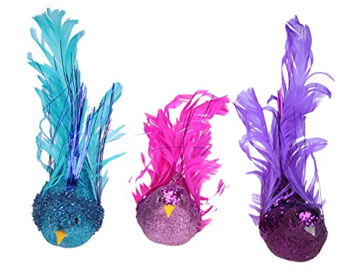 Christmas Holiday Curly Tail Bird Ornament Decoration – Bundle 3 Pack