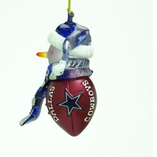Dallas Cowboys Striped Snowman Football Christmas Ornament