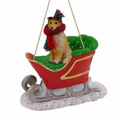 Sheltie Sable Sleigh Christmas Ornament by Conversation Concepts
