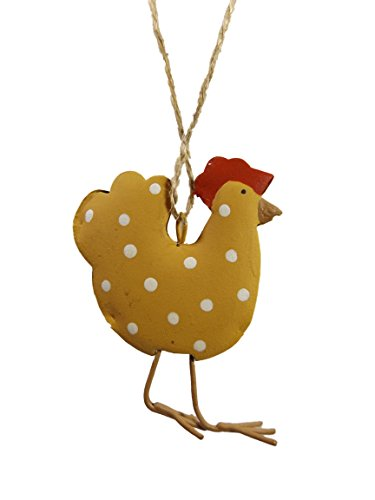 Yellow Polka Dot Hen Chicken Farm Metal Christmas Tree Ornament