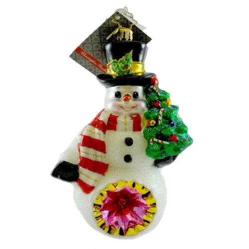 Christopher Radko GLOW IN THE SNOW Blown Glass Ornament Snowman Reflector Tree