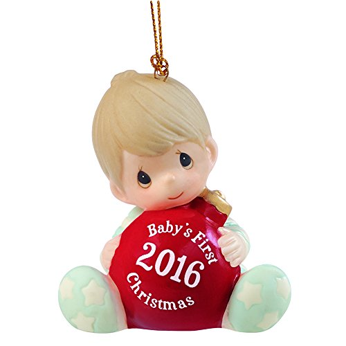 "Precious Moments, Christmas Gifts, ""Baby's First Christmas 2016"", Baby Boy, Bisque Porcelain Ornament, #161006"
