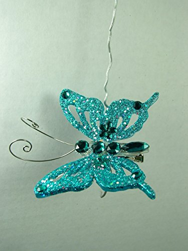 New Turquoise Butterfly Clip On Christmas Tree Ornament One Hundred 80 Degrees