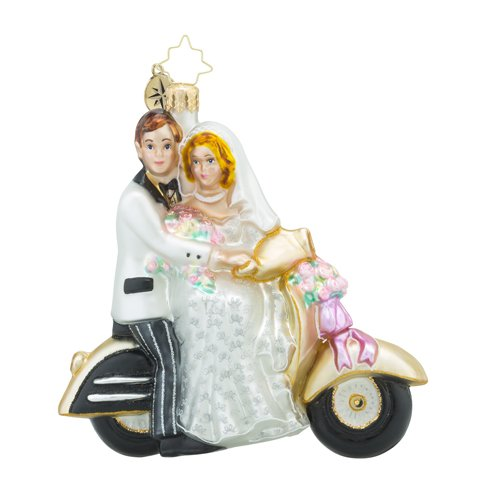 Christopher Radko Scoot Along to Happiness Bridal and Wedding Christmas Ornament