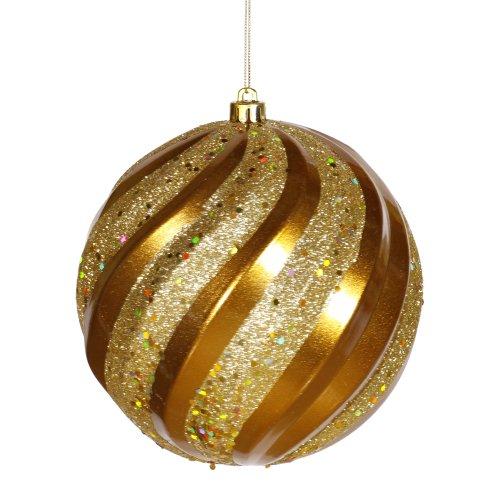 Antique Gold Glitter Swirl Shatterproof Christmas Ball Ornament 6″ (150mm)