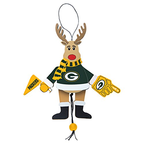 NFL Green Bay Packers Wooden Cheer Ornament, Brown, 5.25″