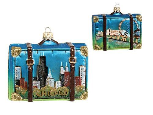 Chicago Illinois Travel Suitcase Polish Glass Christmas Ornament Tree Decoration