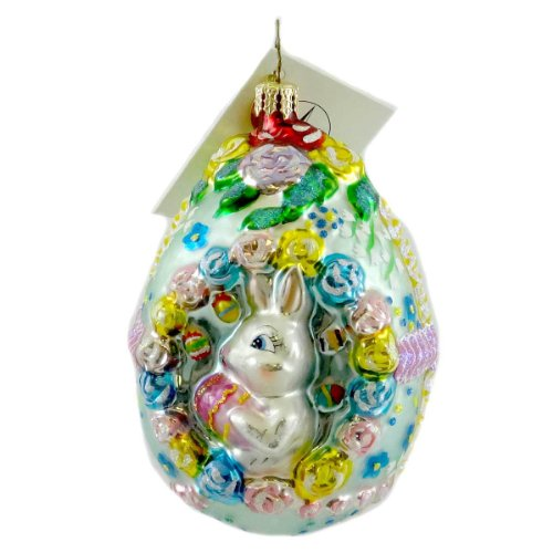 Christopher Radko SUGARBUNNY SWEETS Blown Glass Ornament Easter Rabbit Egg