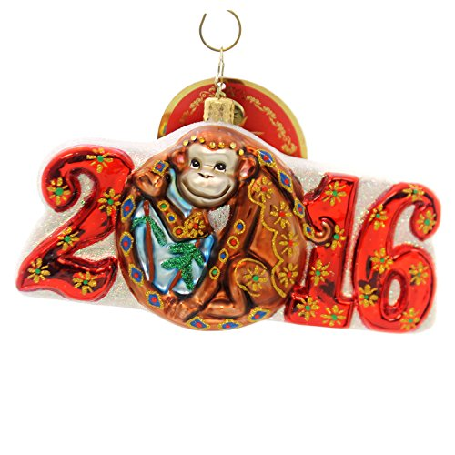 Christopher Radko Year of the Monkey Dated 2016 Animal Christmas Ornament