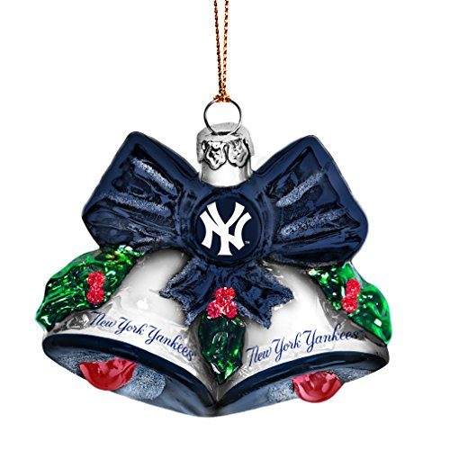 MLB New York Yankees Glitter Bells Ornament, Green, 3″ x 3″