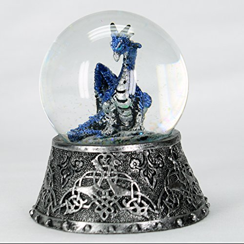 Dragon Figurine Statue Blue in Snowglobe with Medieval Base 3 1/2″ Tall