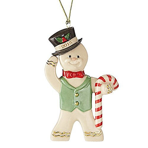 Lenox Christmas 2015 Annual Gingerbread Man Ornament Ginger Gent Candy Cane NEW
