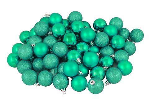 Vickerman 96 Count Seafoam Green Shatterproof 4-Finish Christmas Ball Ornaments, 1.5″