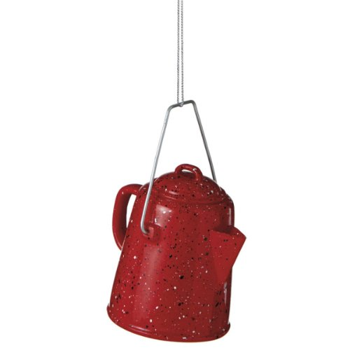 Red Enamel Campfire Coffee Pot Resin Christmas Ornament