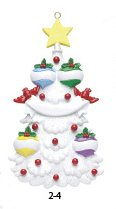 White Tree Family 4 Personalized Christmas Tree Ornament