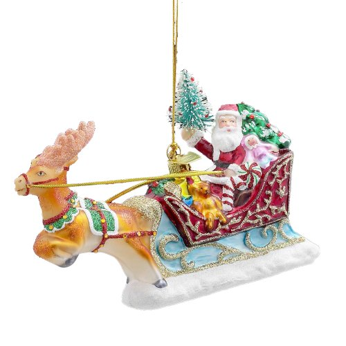 Kurt Adler 6-Inch Noble Gems Glass Santa with Sleigh and Reindeer Ornament
