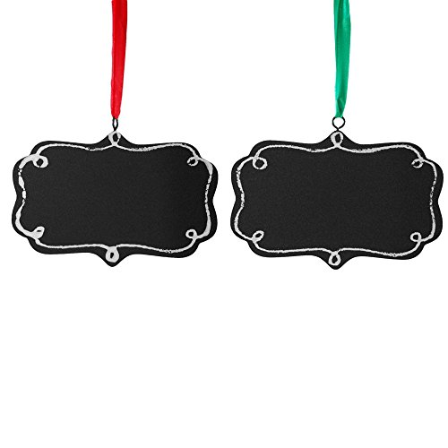Customizable! Wood Chalkboard Hanging Christmas Tree Ornament Set of 2