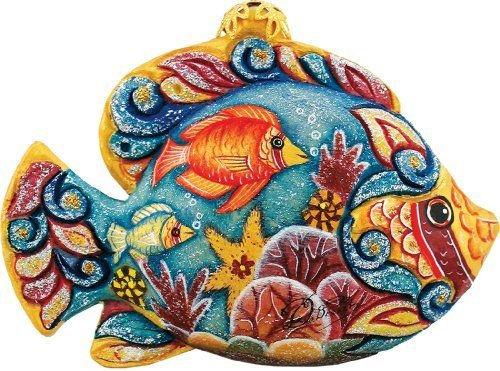 G. Debrekht Tropical Fish Charmer, 3-Inch Tall, Hand-Painted, Includes Hanger That Fits in Hole on Top