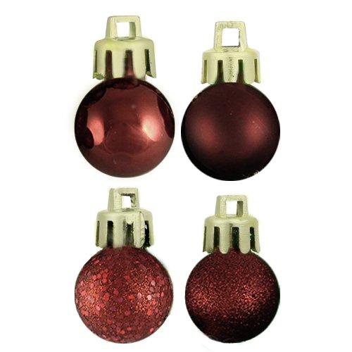 Vickerman 18 Count Burgundy 4-Finish Shatterproof Christmas Ball Ornaments, 1.25″