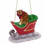 Leopard Sleigh Ride Christmas Ornament