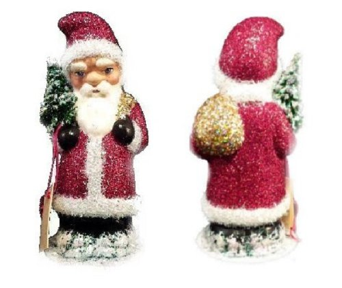 Ino Schaller Paper Mache Saint Nick in Red Glitter Christmas Candy Container