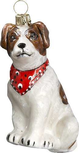 Joy to the World Collectibles European Blown Glass Pet Ornament, Parsons Terrier aka Jack Russell Terrier with Bandana