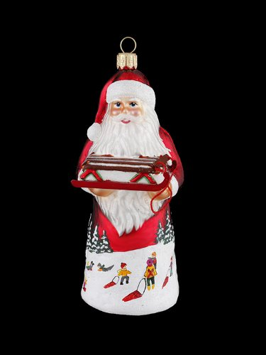 5.25″ David Strand Designs Glass Red Sled Santa Claus Christmas Ornament