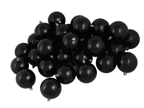 60ct Shiny Jet Black Shatterproof Christmas Ball Ornaments 2.5″ (60mm)