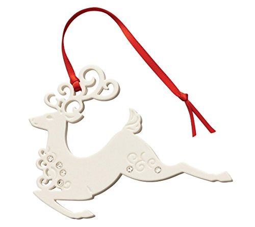 Belleek 7527 Reindeer with Gems, 3.1-Inch, White