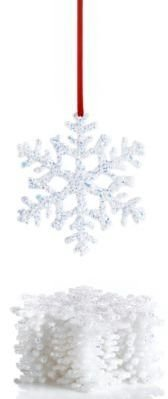 Holiday Lane 4in Snowflake Ornaments [Set of 12] WHITE