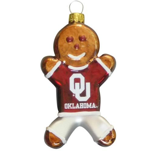 NCAA Oklahoma Sooners Blown Glass Gingerbread Man Ornament