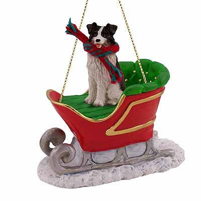 Border Collie Dog in Sleigh Christmas Ornament New