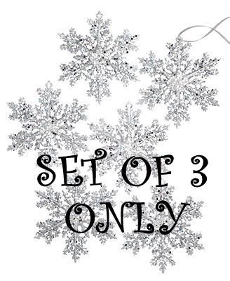 Holiday Lane Set of 3 Silver Sequin Snowflake Ornaments 5.8″