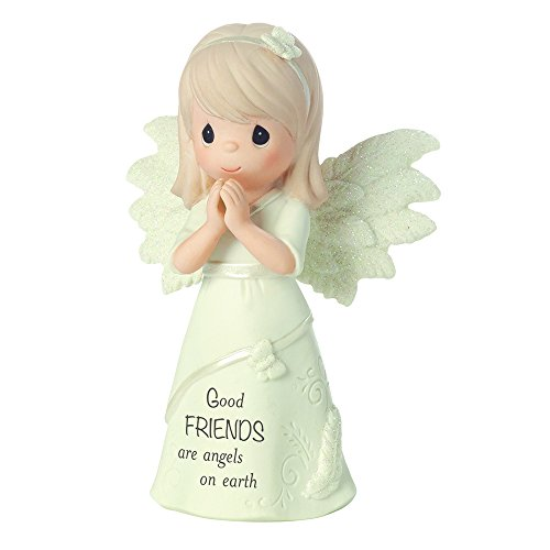 """Precious Moments, Religious Gifts, """"Good Friends Are Angels On Earth"""", Bisque Porcelain Figurine, #161063"""
