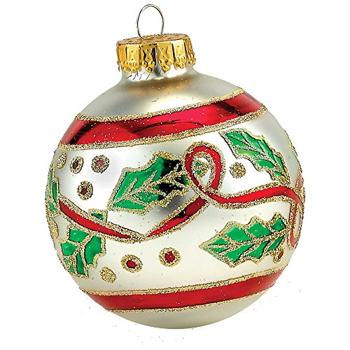 Kurt Adler Silver and Red Holly Ball Ornament, 65mm, Set of 4