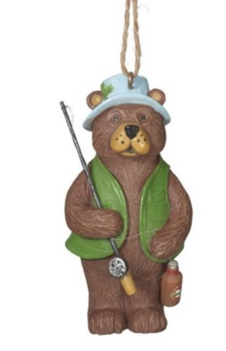 Brown Bear with Bottle Catch Fisherman Christmas Ornament