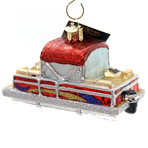 Old World Christmas Pontoon Boat Glass Blown Ornament