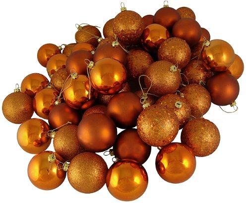 60ct Burnt Orange Shatterproof 4-Finish Christmas Ball Ornaments 2.4″ (60mm)
