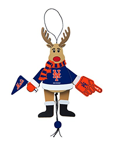 MLB New York Mets Wooden Cheer Ornament, Brown, 5.25″