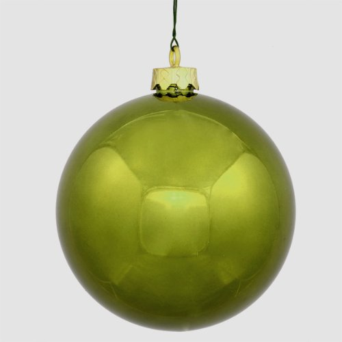 Vickerman Shiny Olive Green Commercial Shatterproof Christmas Ball Ornament, 6″