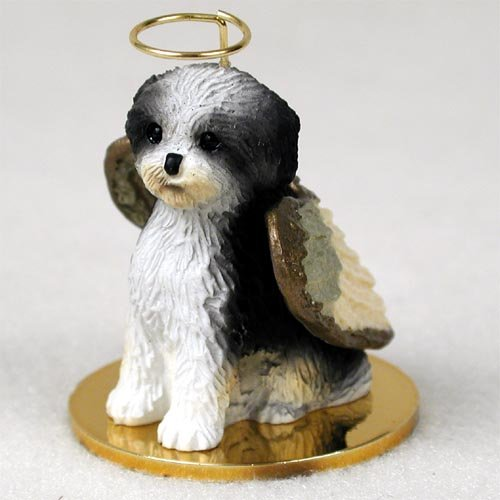 Shih Tzu Black & White w/Sport Cut Pet Angel Ornament (Set of 3)