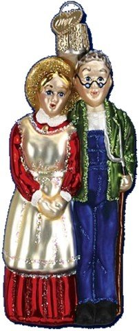 Old World Christmas Farm Couple Glass Ornament