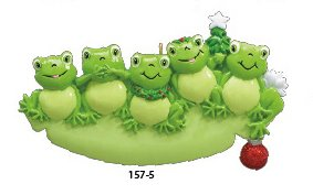 Frog Family of 5 Personalized Christmas Tree Ornament