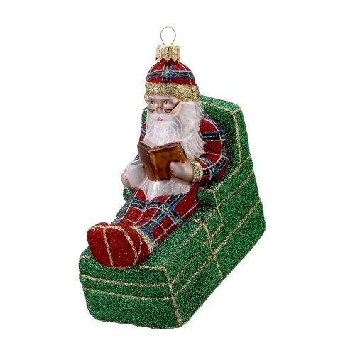 David Strand Kurt Adler Glass Santa Bedtime Story Stewart Ornament, 5.3-Inch by Kurt S. Adler Inc.