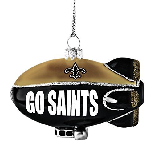 NFL New Orleans Saints Glitter Blimp Ornament, Silver, 3″ x 2.25″
