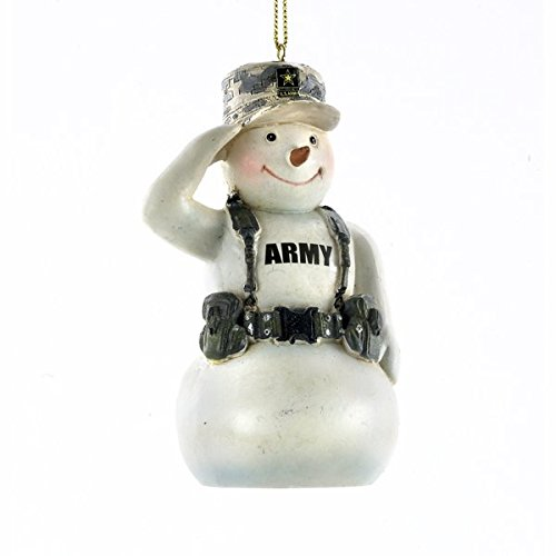 United States U.S. Army Saluting Snowman in Camo Christmas Ornament