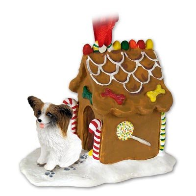 Papillon Dogs Gingerbread House Christmas Ornament New Gift