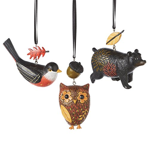 Forest Animals Christmas Ornament Set of 3 Owl, Bird, Bear