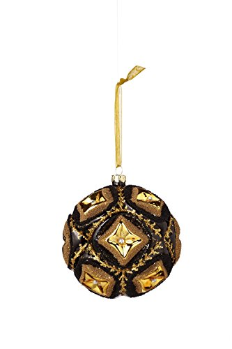 Sage & Co. XAO16921BK Glass Beaded Ball Ornament, 4.25-Inch
