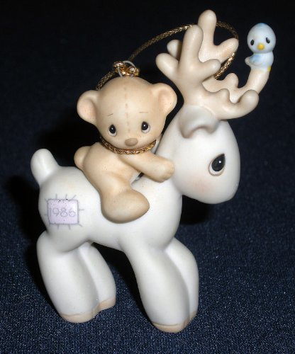 Precious Moments REINDEER Ornament 102466 1986 Birthday Collection